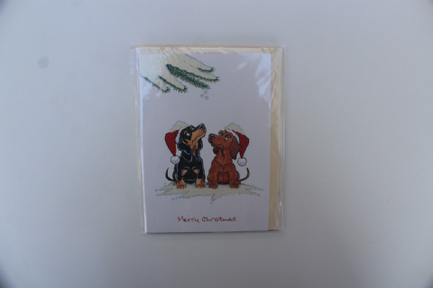 DACHSHUND CHRISTMAS GREETINGS CARD CARTOON